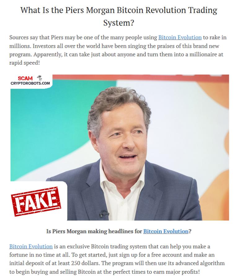 Bitcoin Evolution Fake News